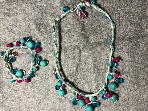 Turquoise Howlite and pink jade necklace and bracelet set.  No sterling silver. Use code SAVE50 at checkout to save 50%.