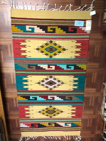 Zapotec handwoven wool rug.  1039
