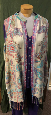Long vest made from Kashmir fine fabric with paisley and florals