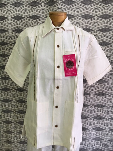 Natural Cotton by Azteca Lindo, Men's Guaberra shirt. 612N Use code save50 at checkout to save 50%  Made in Mexico, top quality.
