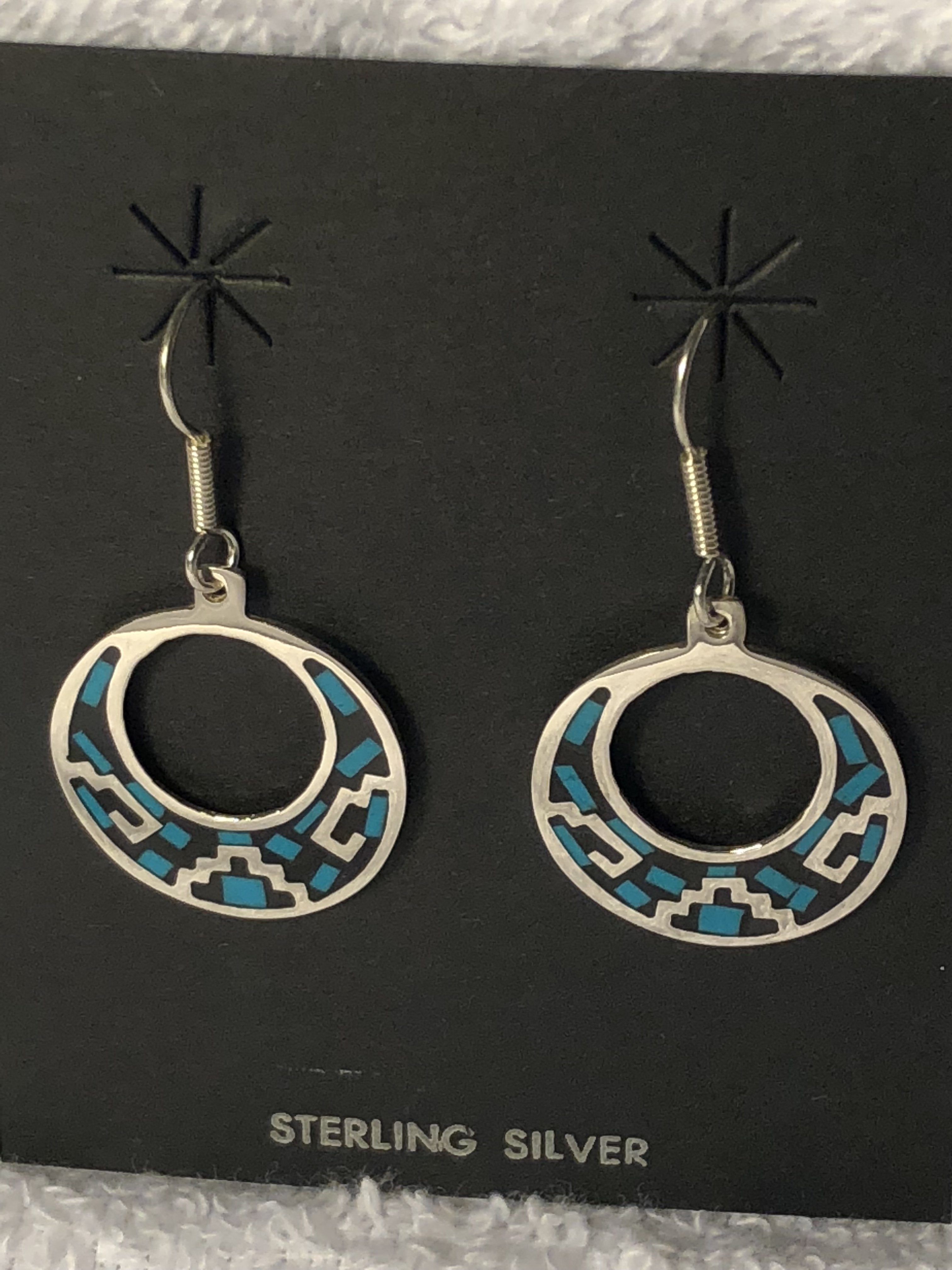 Turquoise color stone inlay sterling silver earrings. A-11.. Use code SAVE50 at checlout to save 50%
