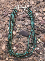 "Natural green turquoise heishi in 4 strand with sterling silver 17.5"". By A.S."