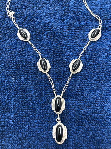 Navajo hand made sterling silver black jet stone necklace. Use code SAVE50 at checkout to save 50%