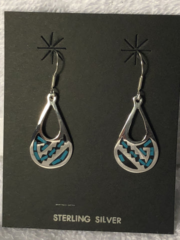 Turquoise color stone inlay sterling silver earrings. A-7  Use code SAVE50 at checkout to save 50%