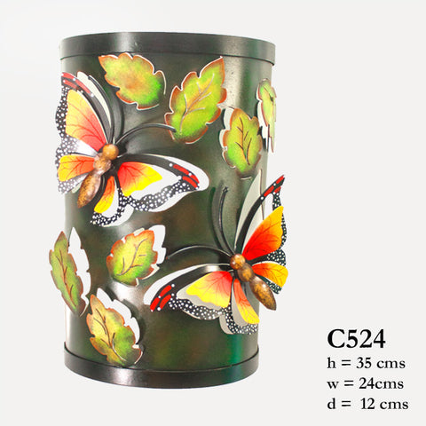 Half round candle holder with two butterflies