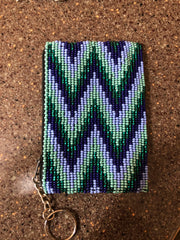 "Guatemalan handcrafted glass beadwork change purse with key ring. 4"" x 3"". SALE"