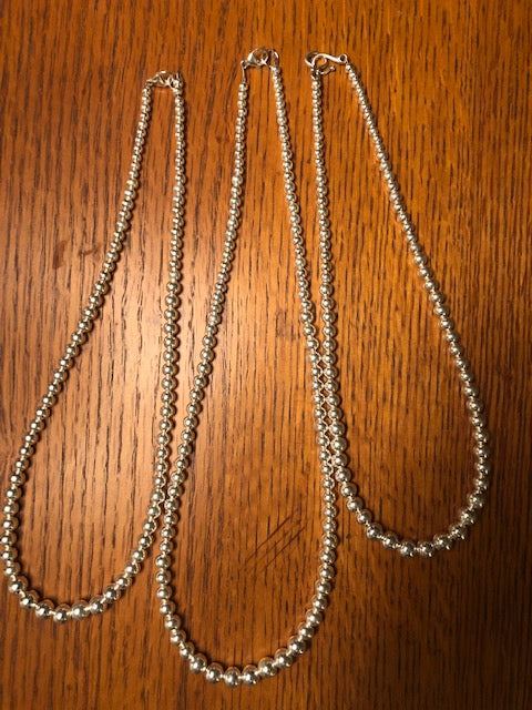 Navajo Style Pearl necklace with 4mm, 5mm, and 8mm beads