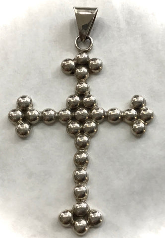 Bead look sterling silver cross from Taxco, Mexico