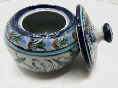 collection series blue rim sugar bowl with lid