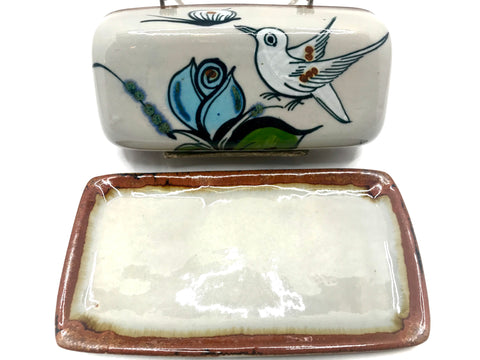 Ken Edwards Stoneware Pottery butter dish with base and lid.