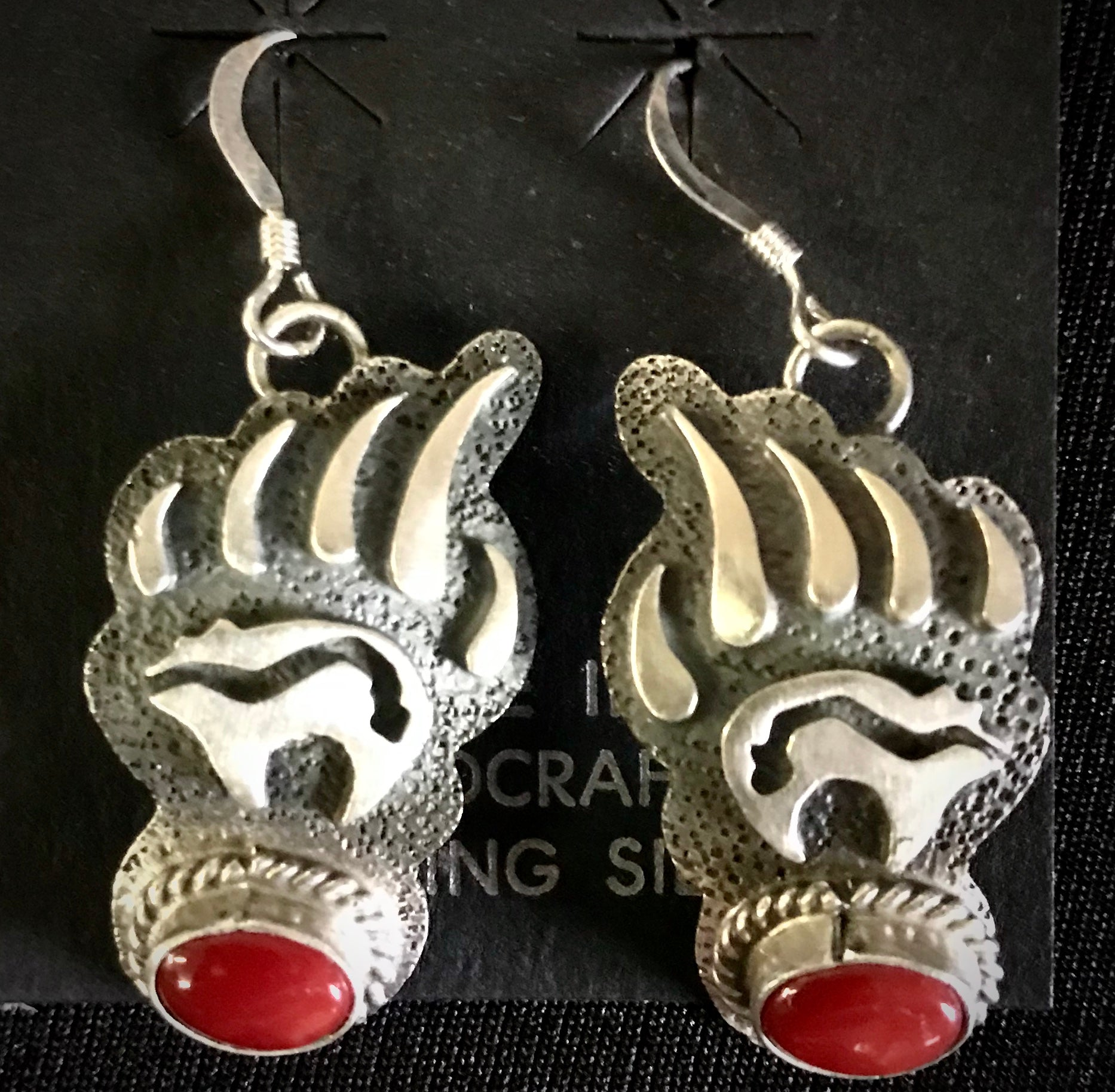 Bear paw coral earrings in sterling silver