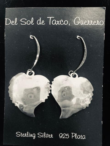 Notched Heart sterling silver earrings. T-37 Use code SAVE50 at checkout to save 50%