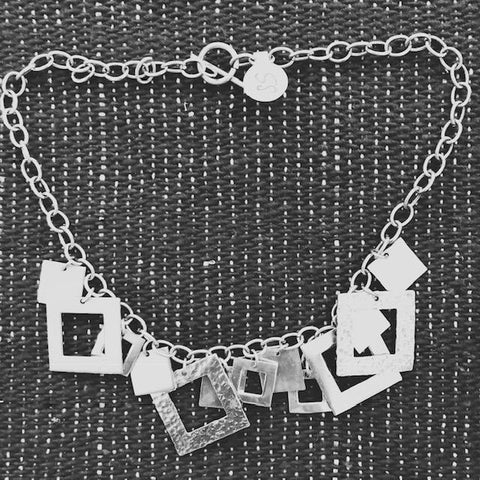 Squares Sterling Silver Necklace. T-45  Use Code SAVE50 at checkout to save 50%
