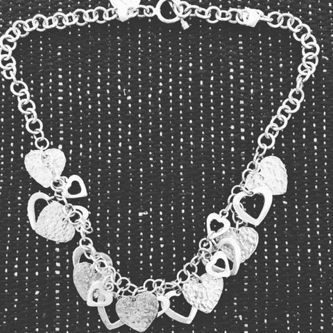 Hearts Necklace in Sterling Silver  T-24 Use code SAVE50 at checkout to save 50%
