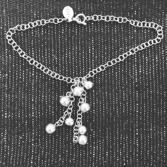 Silver ball necklace in Sterling Silver  T-44  Use code SAVE50 at checkout to save 50%