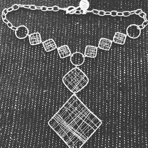 Net Style Sterling Silver Necklace T-35  Use code SAVE50 at checkout to save 50%.