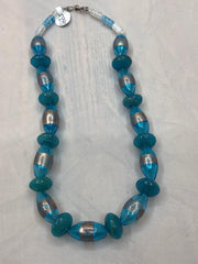 Rare Handblown glass bead necklace with sterling silver accents.  Use code SAVE50 to save 50% at checkout.