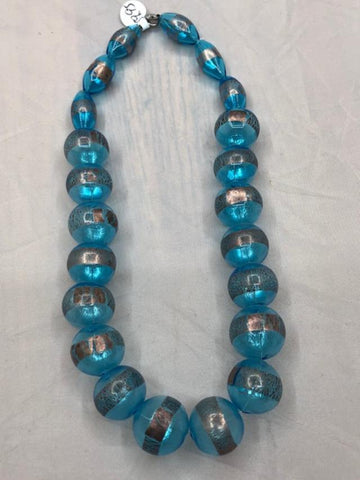 Rare Handblown glass beads with sterling silver accents.  Use code SAVE50 at checkout to save 50%