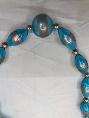 Handblown Glass Bead necklace with sterling silver and milifiori beads  Use code SAVE50 at checkout to save 505