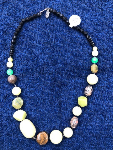 "Multi Color Agate Necklace with black glass beads. Sterling silver plated clasp. 17"" USE CODE SAVE50 AT CHECKOUT TO SAVE 50%"