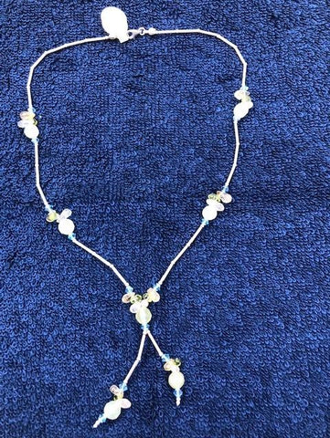 "Sterling Silver tube necklace with rose quartz, blue crystal glass, and jade. 16"" USE CODE SAVE50 AT CHECKOUT TO SAVE 50%"