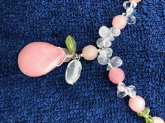 "Rose Quartz with clear quartz and sterling silver necklace. 16""   USE CODE SAVE50 AT CHECKOUT TO SAVE 50%"