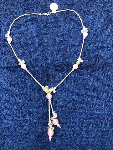 "Peridot, Crystal Quartz, and pink agate with sterling silver necklace. 16""  USE CODE SAVE50 AT CHECKOUT TO SAVE 50%"