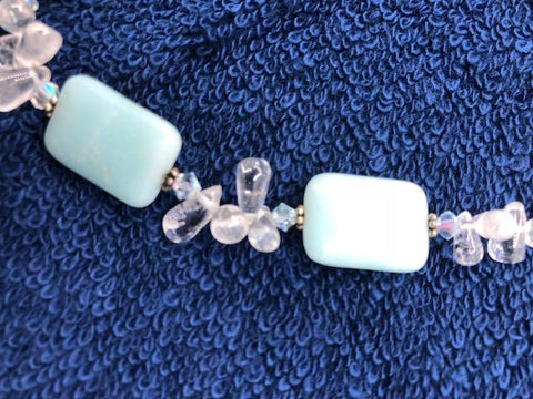 "Natural Jade with clear crystal quartz necklace. 17"" with sterling silver clasp.  USE CODE SAVE50 AT CHECKOUT TO SAVE 50%"