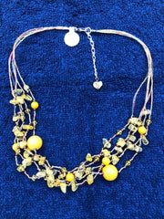 yellow agate multi strand necklace