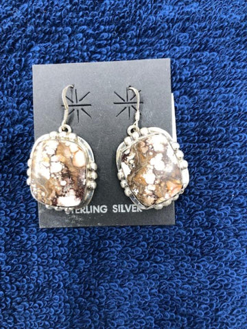 Navajo handcrafted sterling silver and Magnasite earrings. Use code SAVE50 at checkout to save 50%