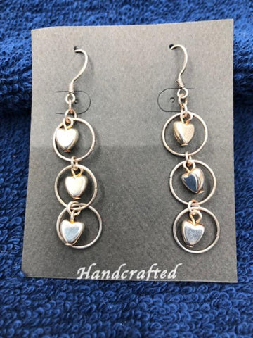 Triple Heart Sterling Silver Earrings  901