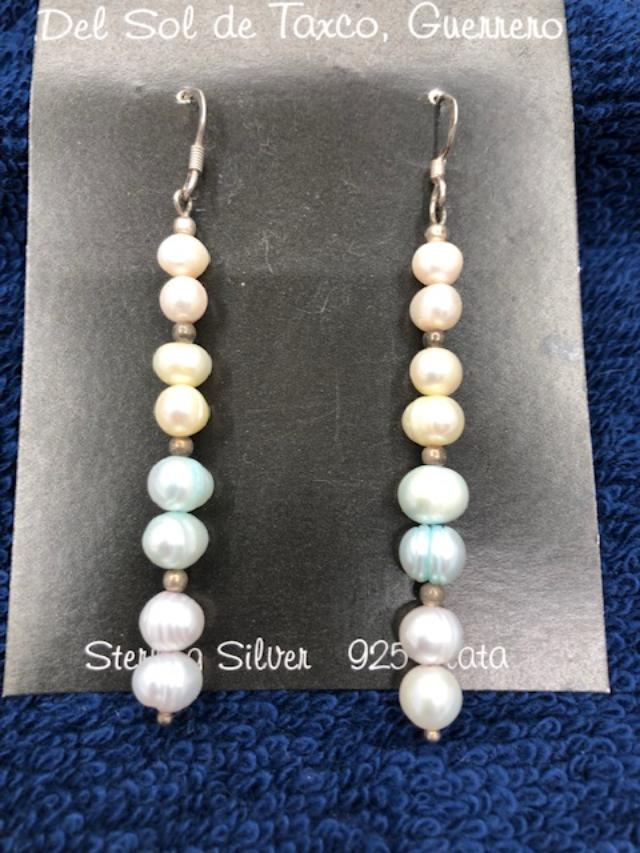 Fresh Water Pearl earrings in 3 pastel colors  Sterling Silver 904  use code SAVE%) at checkout to save 50%