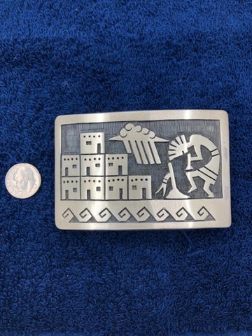 Sterling Silver Pueblo Scene with Kokopelli belt buckle.  Use code save50 at checkout