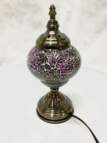 Mosaic glass inlay lamp with glass globe in table top  style.