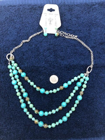 Three strand simulated turquoise with earrings.
