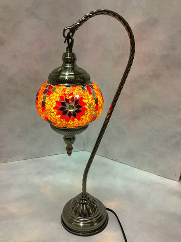 Mosaic Glass Goose Neck Lamp  #134