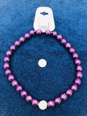 Purple bead necklace and earring set