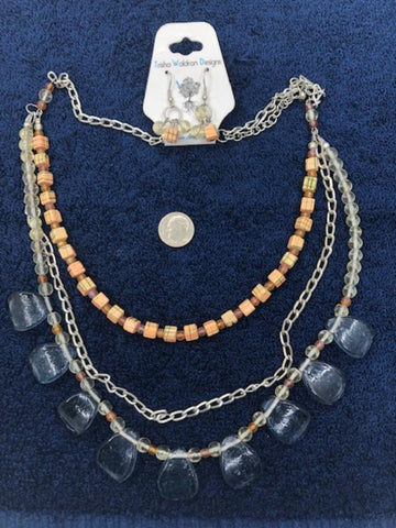 Three strand bead, chain, and wood necklace