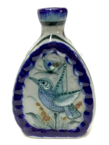Small vase with blue rim and bird
