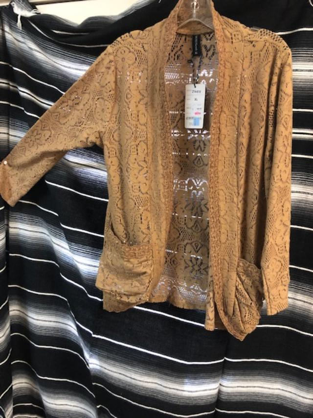 Sacred Threads Lace Jacket in Brown   Use code save50 at checkout to save 50%