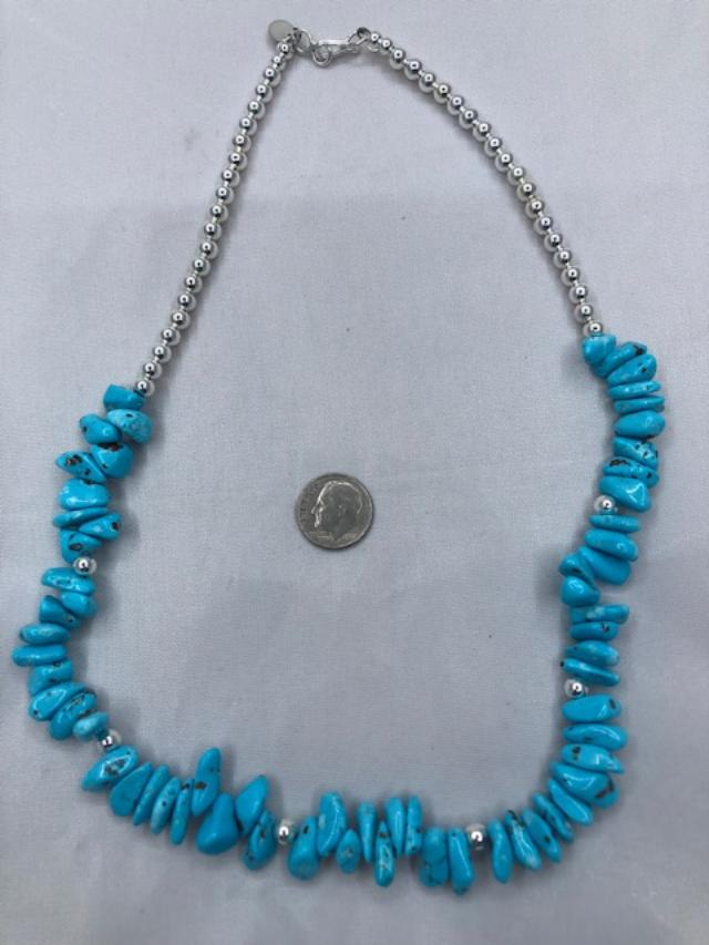 Navajo style Pearl Necklace with Campitos Turquoise 19 inches