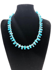 Navajo Style Pearls  Campitos Turquoise Necklace