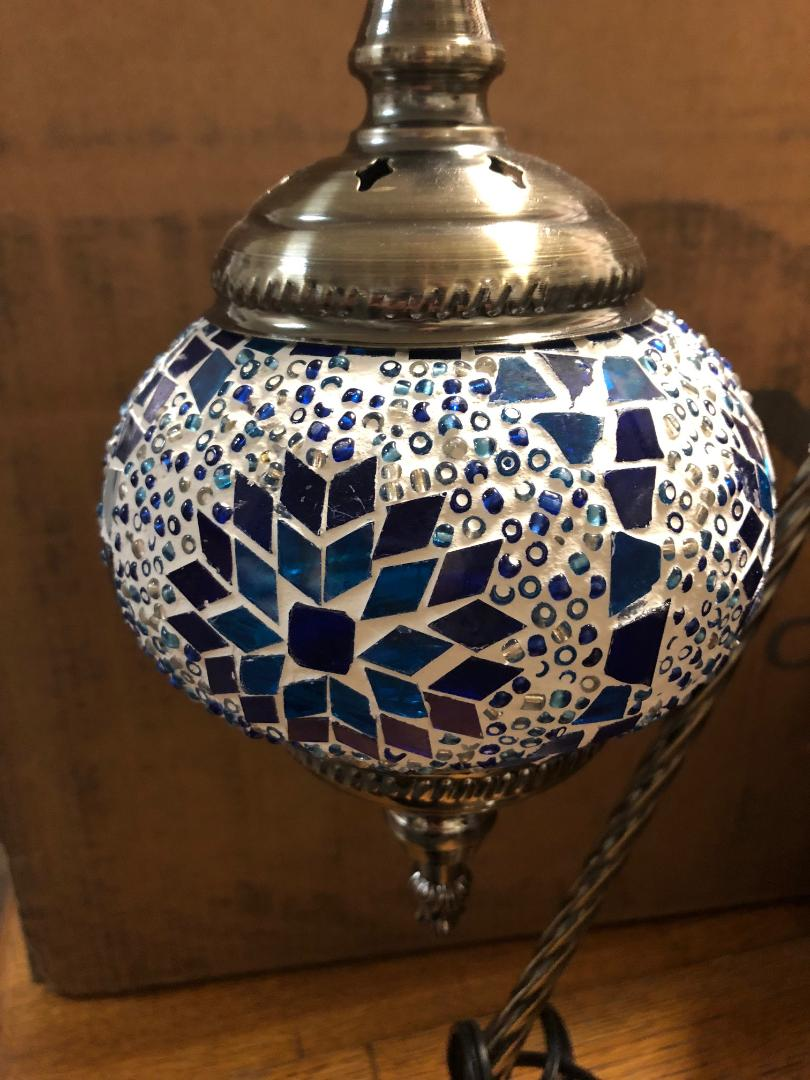 Mosaic glass lamp in goose neck style 123