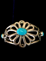 Navajo Handcrafted Sterling Silver and genuine turquoise bracelet by Daniel Mike.