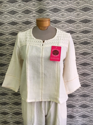Ladies Lace Shoulder blouse in 100% Natural Cotton 1143N