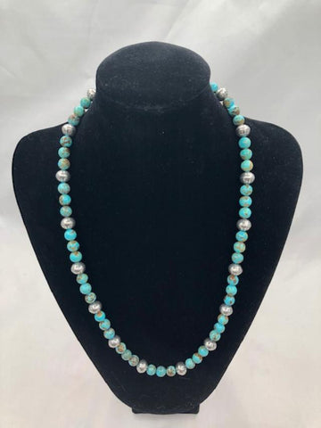 Genuine Turquoise round beads with sterling silver