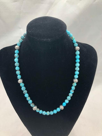 Navajo style Pearls in Sterling-Silver and Kingman Turquoise.