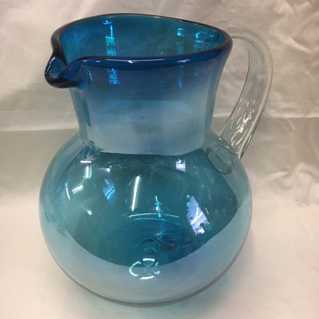 1 Aquamarine Bowl Pitcher in hand blown glass