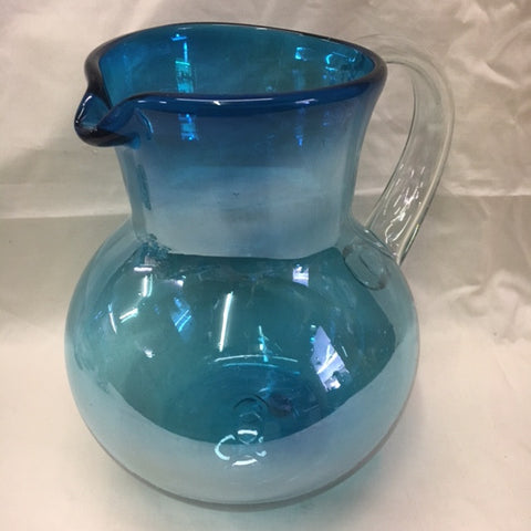 1 Aquamarine Bowl Pitcher in hand blown glasses