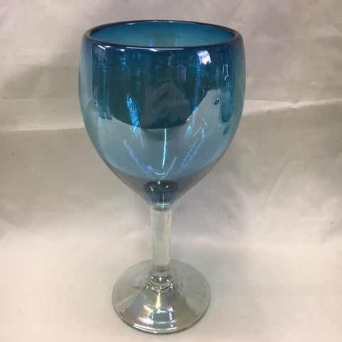 4 Aquamarine Wine glasses in hand blown glasses